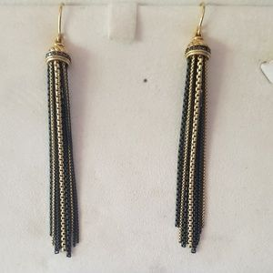 David Yurman Gold Silver Diamond Tassel Earrings